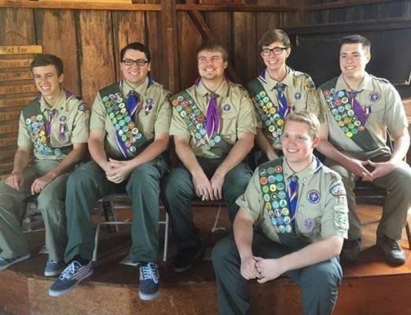 Six Boy Scouts from Encinitas Troop 776 were recently recognized for achieving their Eagle Scout rank. Back row, from left: Joe Lewis, Anthony Sylvester, Corey Switzler, Andrew Kenney and Alec Maskiewicz. Front row: Spencer Dalton.