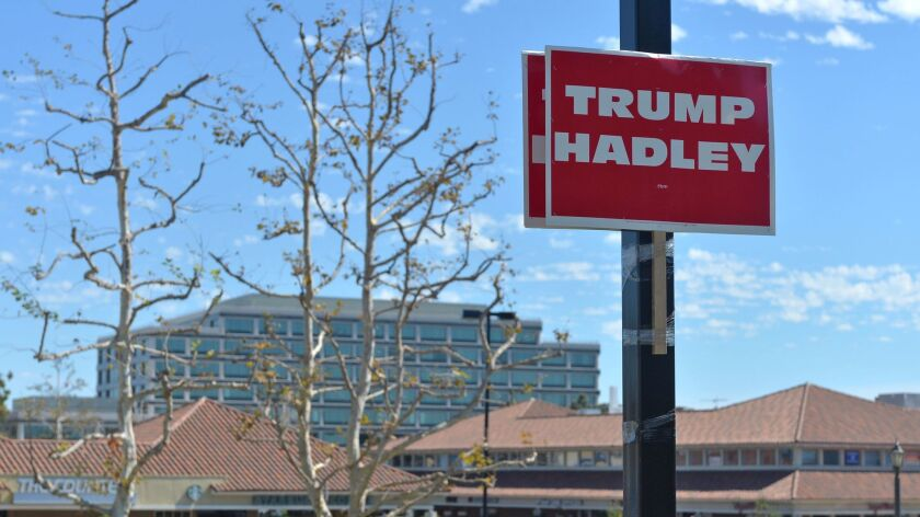 Al Muratsuchi created signs linking his Republican opponent David Hadley to Donald Trump via signs p