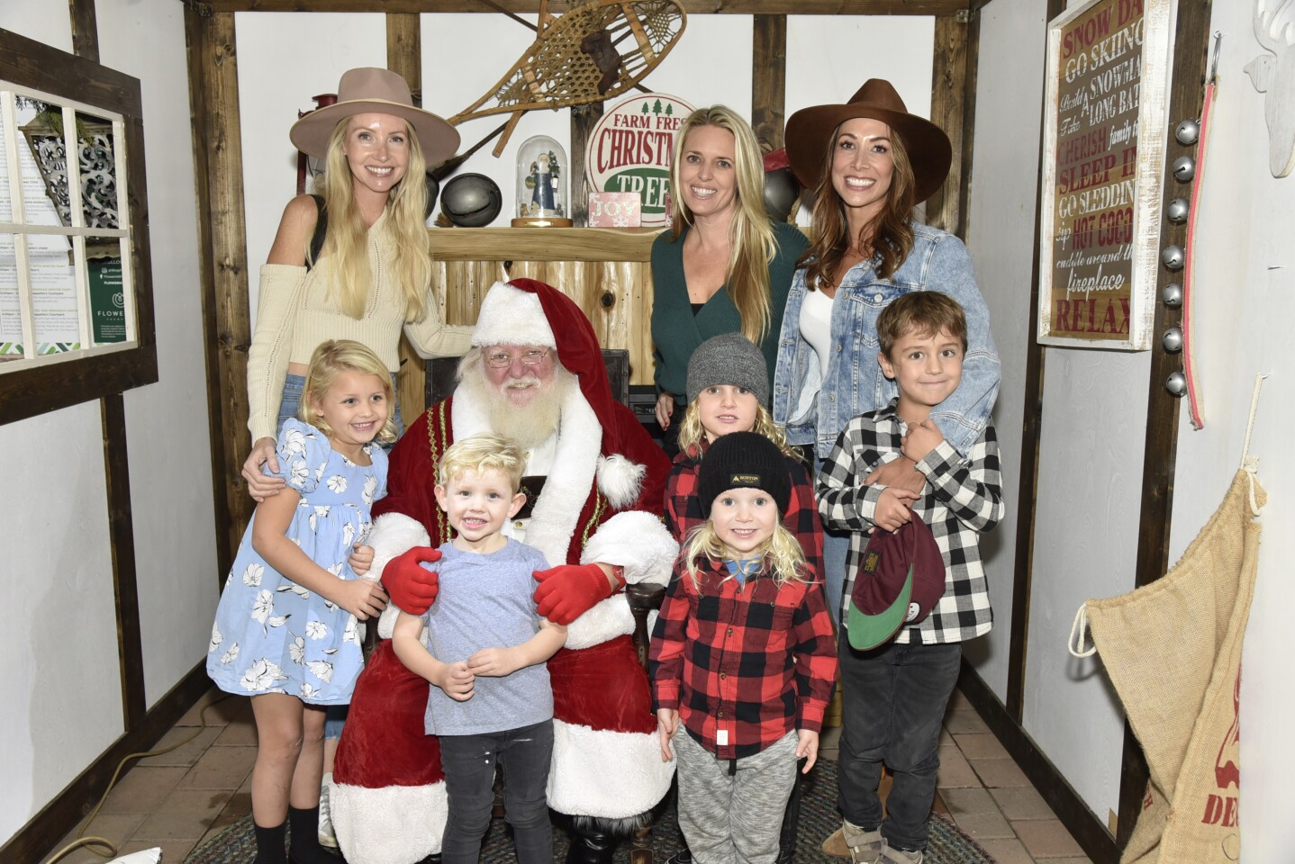 Candace Fahlstrom, Allison Lantz, Rose Starck, Santa with Charlotte, Ford, Archer, Thompson, and Dylan