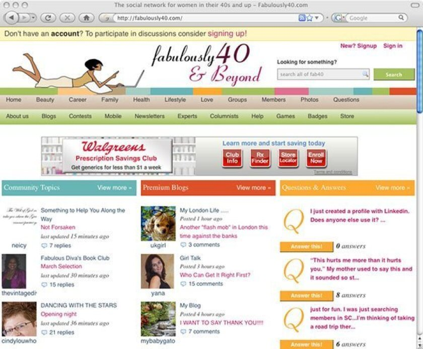 Fabulously40.com is social networking and more, providing women with tools to succeed in and market a business.