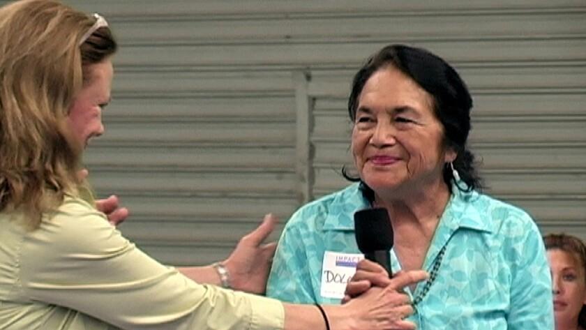 "Ellen Snortland, left, and Dolores Huerta in the documentary ""Beauty Bites Beast."""