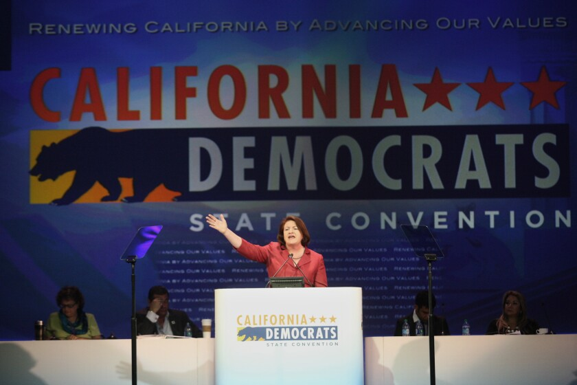 Then-California Assembly Majority Leader Toni Atkins speaks at the California Democratic Convention at the L.A. Convention Center in March. She became Assembly speaker May 12.