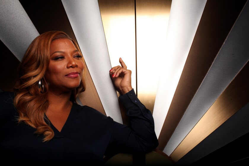 """""""The Queen Latifah Show"""" got off to a promising start Monday. She is pictured on the set of the show at Sony Pictures Entertainment in Culver City."""
