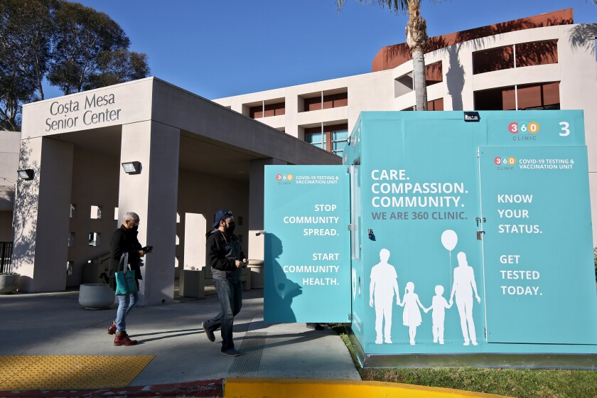 A new walk-up COVID-19 testing kiosk at the Costa Mesa Senior Center on Saturday.