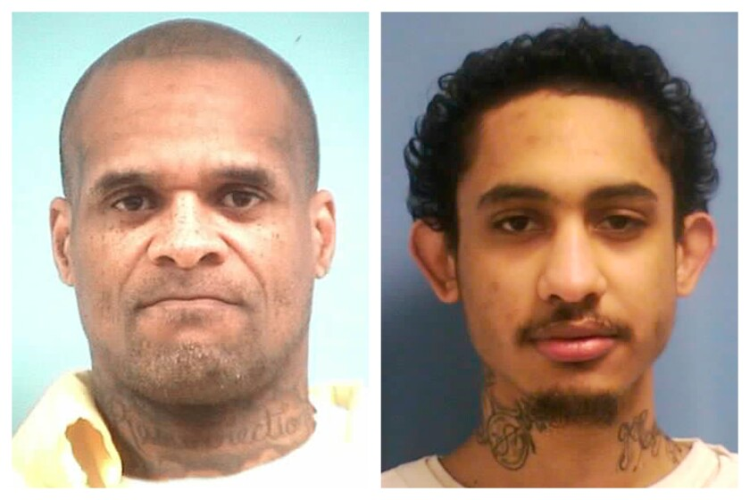 This combination of photos made available by the Mississippi Department of Corrections on Saturday, Jan. 4, 2020 shows inmates David May, 42, and Dillion Williams, 27. They were discovered missing about 1:45 a.m. Saturday from the state penitentiary at Parchman, Miss. May was convicted of aggravated assault in Harrison County. Williams was convicted of aggravated assault and burglary in Marshall County. (MDOC via AP)