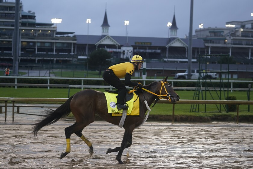 Kentucky Derby entry King Guillermo runs during a workout at Churchill Downs, Wednesday, Sept. 2, 2020, in Louisville, Ky. The 146th running of the Kentucky Derby is scheduled for Saturday, Sept. 5th. (AP Photo/Darron Cummings)