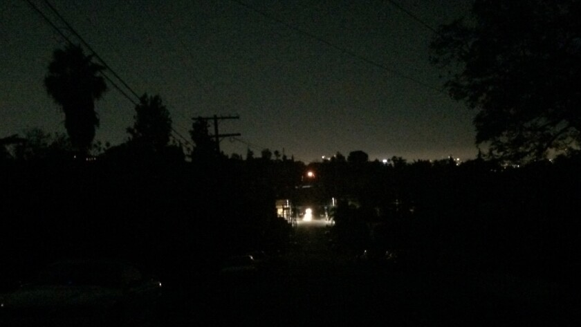 Effie Street and Lucile Avenue in Silver Lake during the power outage.