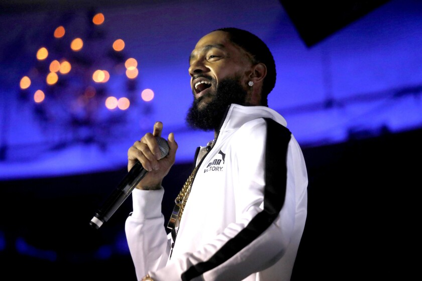 "HOLLYWOOD, CA - FEBRUARY 15, 2018 - Rapper Nipsey Hussle performs raps from his new album, ""Victory"
