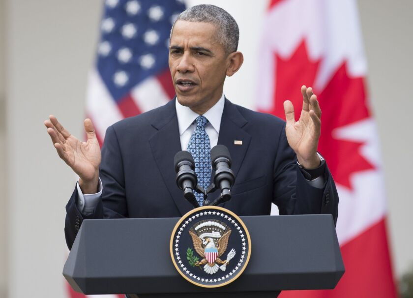 President Obama speaks at a news conference with Canadian Prime Minister Justin Trudeau in the Rose Garden on Thursday. Democrats suggest that best political play on Obama's Supreme Court pick is the least political one.