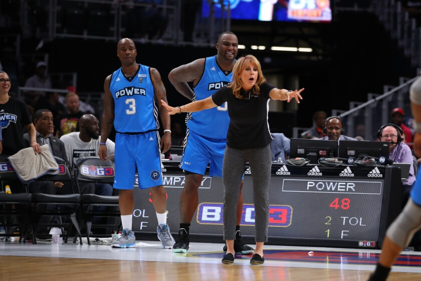 Power head coach Nancy Lieberman directs her players during a Big3 game in June.