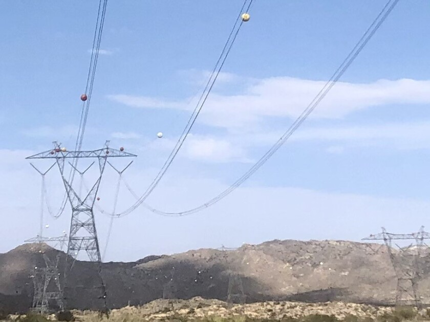 Power lines in East County, near the town of Jacumba Hot Springs.