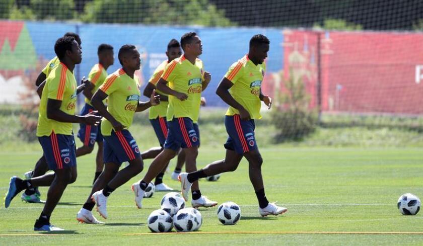 En la imagen, un registro de un entrenamiento de los jugadores de la selección colombiana. EFE/Archivo
