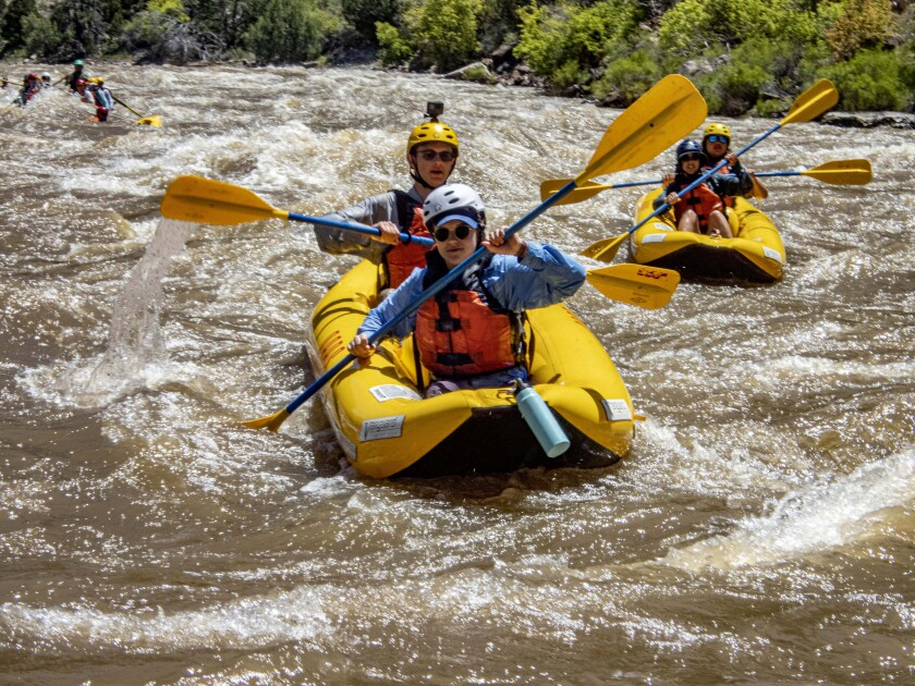 A two-person raft, shown here on the Yampa River, may be a good choice for social distancing.
