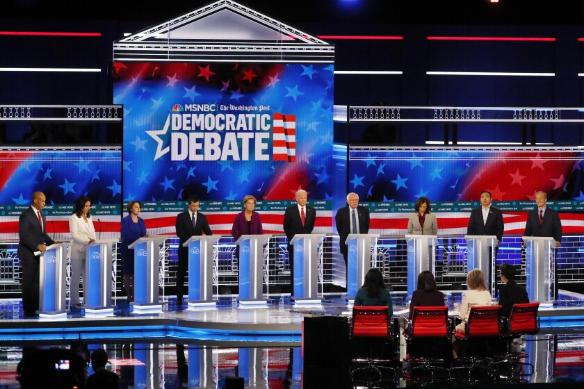 Democratic presidential candidates onstage for the fifth primary debate, held Wednesday in Atlanta.