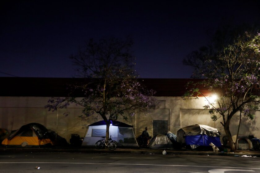 Homeless encampment north of Martin Luther King Jr. Boulevard in Los Angeles