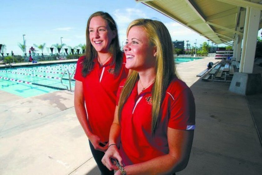SDSU swimmers Kelly Marquenie (left) and Katelyn Weddle will be participating in the NCAA championships in Austin, Texas.