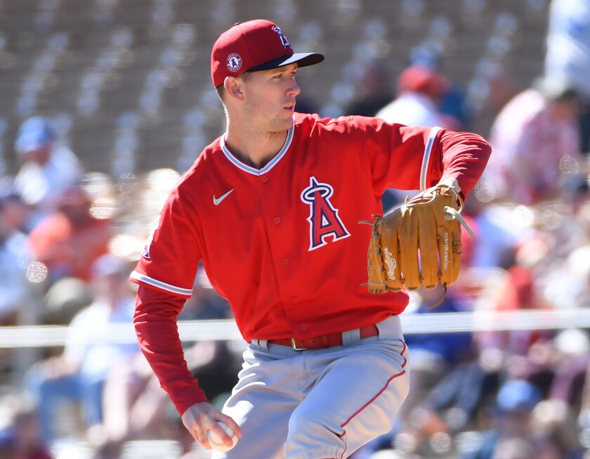 Angels' Griffin Canning pitches against the Dodgers during a spring training game Feb. 26 at Camelback Ranch.