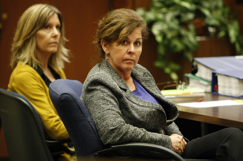 Angela Spaccia, the former assistant city manager of Bell, is shown at right last month in court.