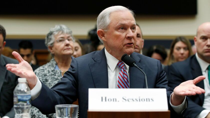 U.S. Atty. Gen. Jeff Sessions speaks Tuesday during a House Judiciary Committee hearing.