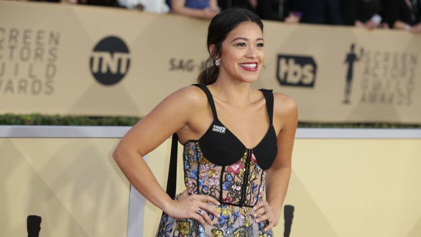 Gina Rodriguez during the arrivals at the 24th Screen Actors Guild Awards at the Los Angeles Shrine Auditorium and Expo Hall.