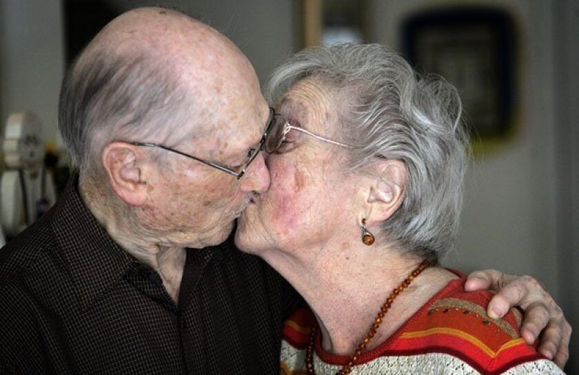 Blanche and Sam Weiss say keeping their sense of humor has helped them through tough times.  (Bruce K. Huff / Union-Tribune)
