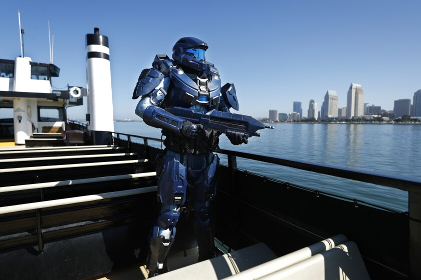 Shane Holly dressed as Spartan 2296 from the video game Halo on board the Flagship Cruises Cabrillo in San Diego Bay.