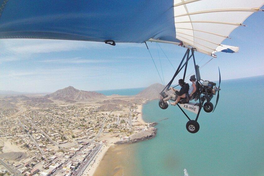 A 15-minute ultralight flight high above San Felipe provides breathtaking views of the area.