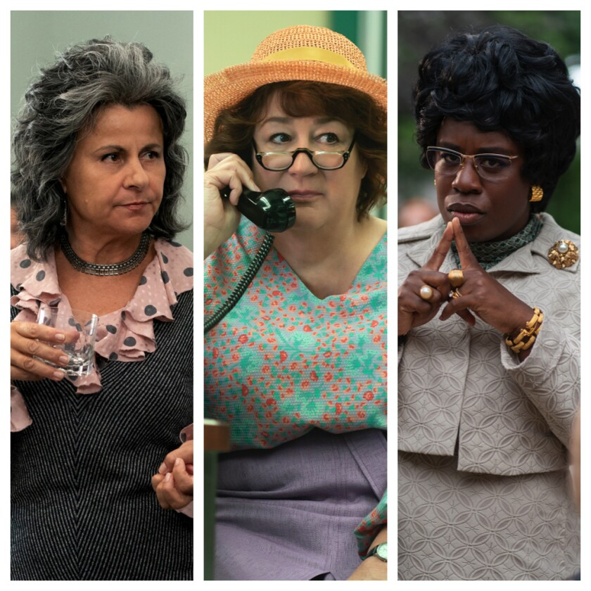 "Tracey Ullman as Betty Friedan, left, Margo Martindale as Bella Abzug and Uzo Aduba as Shirley Chisholm in ""Mrs. America."""