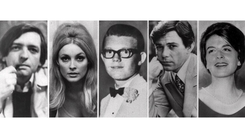 The five victims slain the night of Aug. 9, 1969, at the Benedict Canyon estate of Roman Polanski: from left, Voytek Frykowski, Sharon Tate, Steven Parent, Jay Sebring and Abigail Folger. The next night, Rosemary and Leno LaBianca, who lived across town, were stabbed to death in their home.