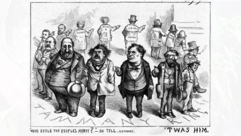 Thomas Nast depicted the merry-go-round of Wall Street blame in the 1870s.