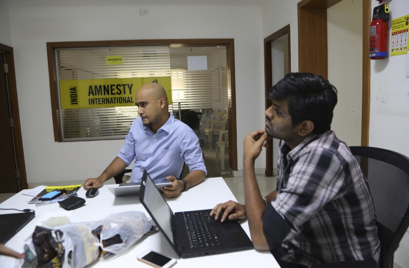 Amnesty International India employees at their headquarters in Bangalore, India.