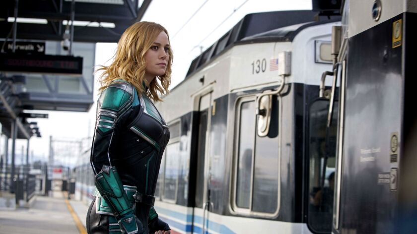 "Brie Larson as the titular superhero in a scene from Marvel Studios' ""Captain Marvel."""