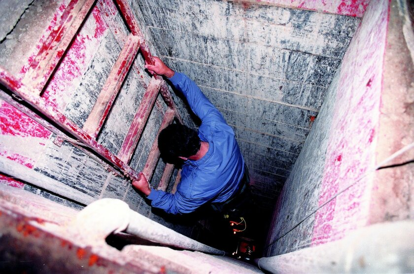 A Mexican reporter explored the quarter-mile drug tunnel under the U.S.-Mexico border in June 3, 1993. Authorities said the tunnel appeared to be designed to come out at a warehouse and cannery under construction in Otay Mesa owned by the Reynoso Gonzalez family. Antonio Reynoso Gonzalez has been e