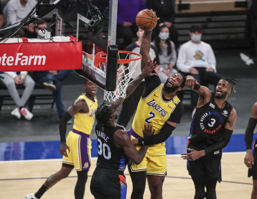 Lakers center Andre Drummond dunks during the second quarter against the New York Knicks.
