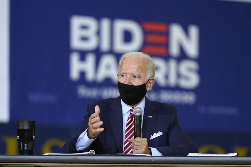Democratic presidential candidate Joe Biden speaks during a roundtable discussion with veterans in Tampa, Fla.
