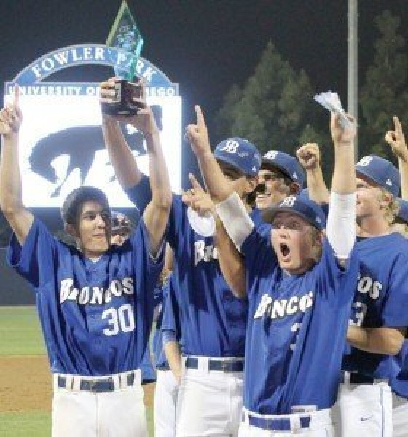 The Rancho Bernardo High baseball team celebrates after capturing the CIF San Diego Section Open Division title. Photo by Sherri Cortez