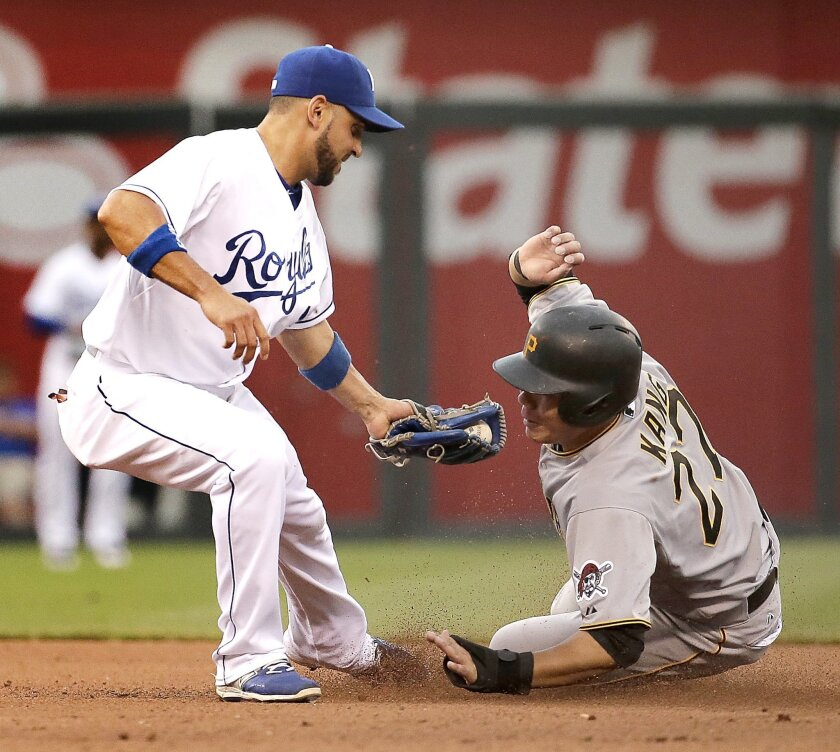 Pittsburgh Pirates' Jung Ho Kang is caught stealing second by Kansas City Royals second baseman Omar Infante to end the top of the fourth inning of a baseball game Tuesday, July 21, 2015, in Kansas City, Mo. (AP Photo/Charlie Riedel)