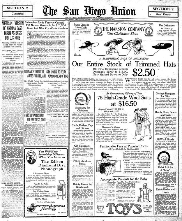 On Dec. 10, 1915, The San Diego Union reported city council members were skeptical of rainmaker Charles M. Hatfield's offer to fill Morena Reservoir for $10,000.