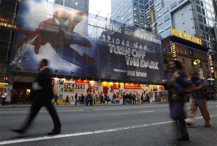 A building-sized banner covers the front of the Foxwoods Theater on 42nd street in New York, Tuesday, Oct. 5, 2010, where preparations are underway for the opening of Spider-Man on Dec. 21, the most expensive show in Broadway history. (AP Photo/Kathy Willens)