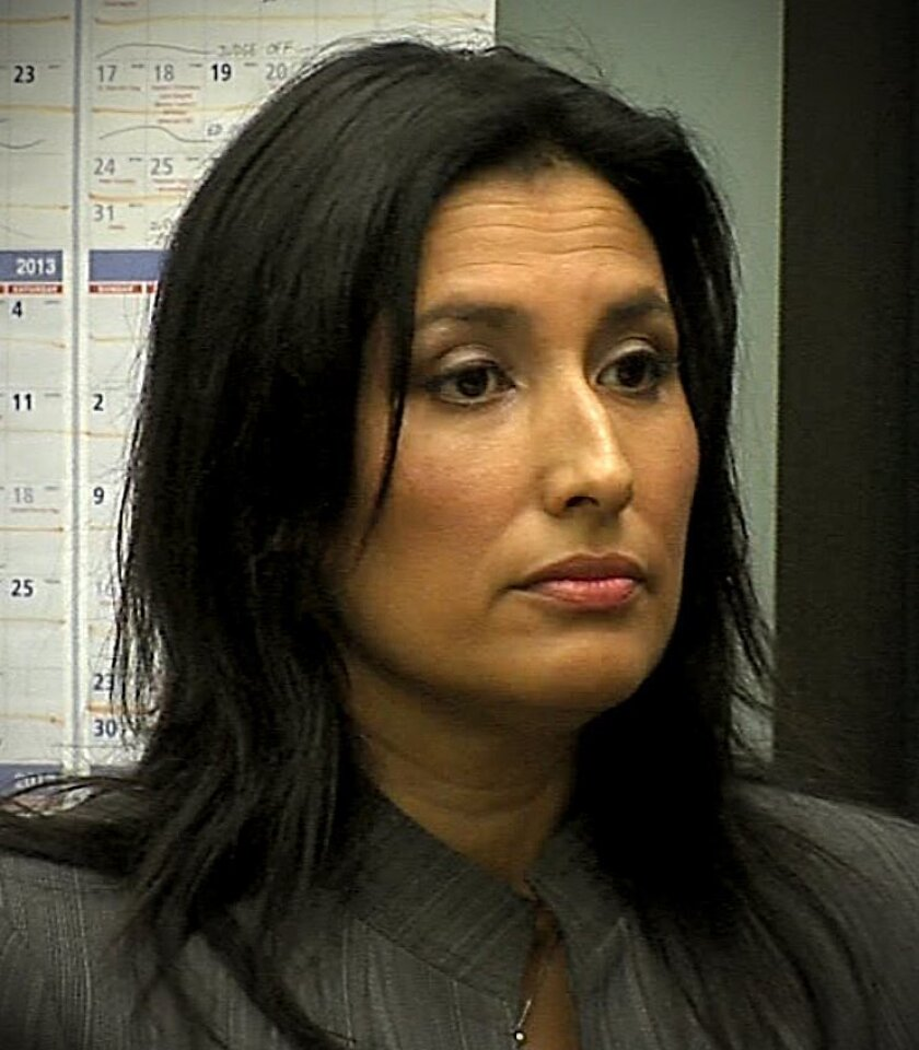 Rachel Escobedo, principal at Lee Elementary School in Paradise Hills, appeared at her arraignment in San Diego Superior Court.