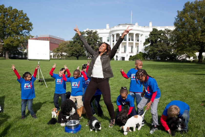 "Michelle Obama will appear in the Puppy Bowl on Animal Planet to promote the ""Let's Move!"" initiative."