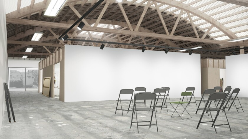 An architectural rendering of the critique area in the renovated warehouse area by Johnston Marklee.
