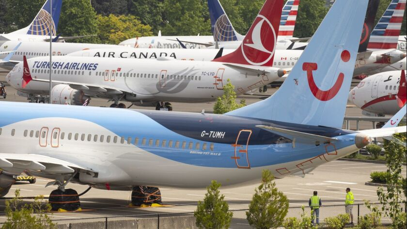 Boeing 737 Max Planes Sit Parked At Boeing Field In Seattle, Washington