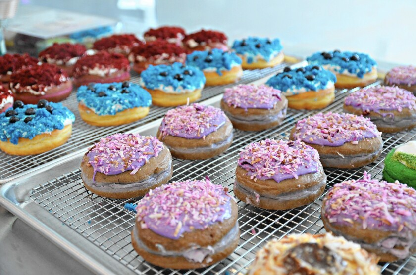 Colorful doughnuts at Ujelly in Fountain Valley.