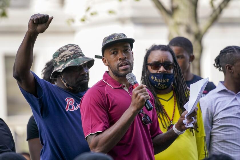 Wisconsin Lt. Gov. Mandela Barnes speaks at an outdoor rally