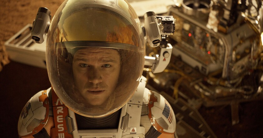 """This photo released by 20th Century Fox shows Matt Damon in a scene from the film """"The Martian."""""""