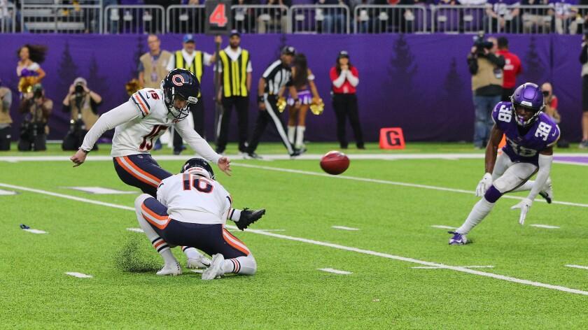 Eddy Pineiro kicks the winning field goal in the Chicago Bears' triumph over the Minnesota Vikings on Sunday.