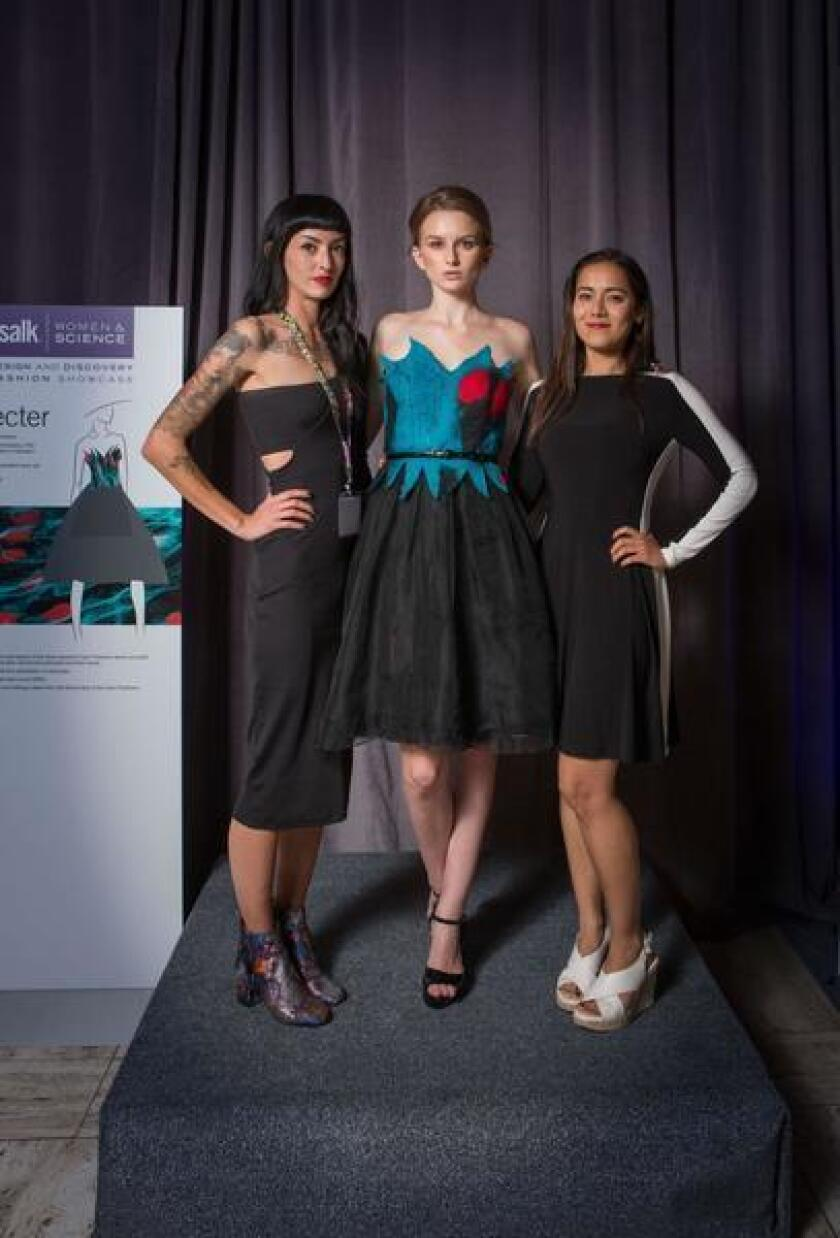 Salk Institute's Women & Science Design and Discovery Fashion Showcase 2017: Designer Jessica Holland, model Zoe Birdsall and scientist Krishna Vadodara with 'Specter,' a gown inspired by the study of human pluripotent stem cell-derived astrocytes.