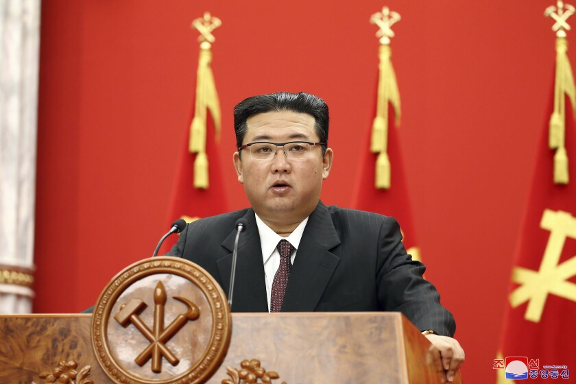 """In this photo provided by the North Korean government, North Korean leader Kim Jong Un delivers a speech during an event to celebrate the 76th anniversary of the country's Workers' Party in Pyongyang, North Korea Sunday, Oct. 10, 2021. Independent journalists were not given access to cover the event depicted in this image distributed by the North Korean government. The content of this image is as provided and cannot be independently verified. Korean language watermark on image as provided by source reads: """"KCNA"""" which is the abbreviation for Korean Central News Agency. (Korean Central News Agency/Korea News Service via AP)"""