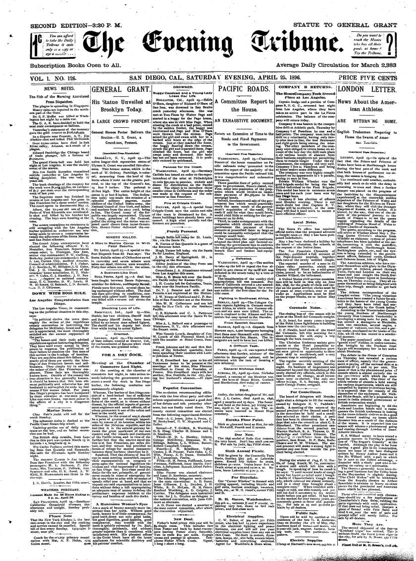 Front page of The Evening Tribune, April 25, 1896.